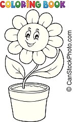 Coloring book flower topic 5