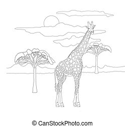 Coloring book for adults and children with a giraffe on a background of a landscape of the sky and savannah trees. Beautiful cute spotted giraffe in lines.Coloring book with kind animals herbivores