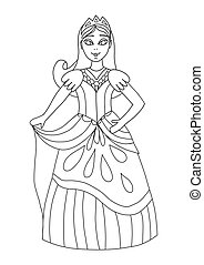 Coloring book for adults and children with a princess or queen from a fairy tale. A beautiful girl stands and smiles. Beautiful ball gown, crown. Coloring Series. Magic coloring page for creativity
