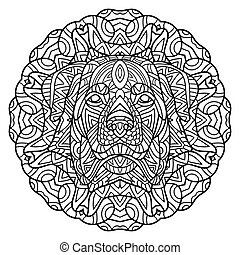 Coloring book for adults. Dog book. The head of a dog Rottweiler on the background circular tribal pattern.
