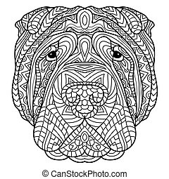 Coloring book for adults. Dog book. The head of a dog Sharpay with tribal pattern.