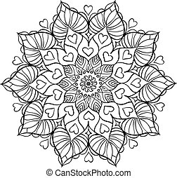 Coloring book for adults. Round floral mandala element. Anti...