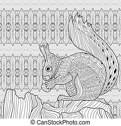 Coloring book for adults. Squirrel sits on a tree stump. Line art.
