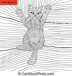 coloring book for adults - zentangle cat book, ink pen, black and white background, intricate pattern, doodling