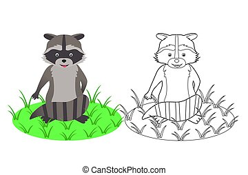 Coloring book for children, raccoon, vector illustration