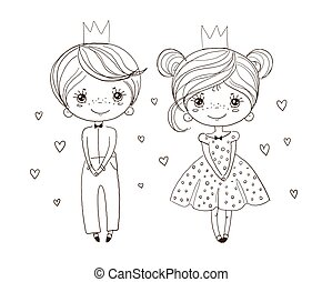Coloring book for girls, little prince and princess in a ball gown. Linear drawing for children, freehand sketch for kindergarten and educational activities. Vector illustration isolated on a white background.