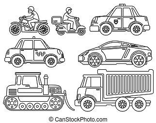 Coloring Book for Kids Cartoon Transport