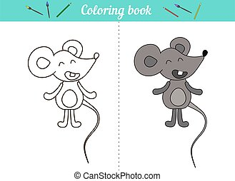 Coloring book for kids. Little mouse. A simple drawing with an example of color. Cartoon character animal. Page for preschool education, cards for printing, lessons.