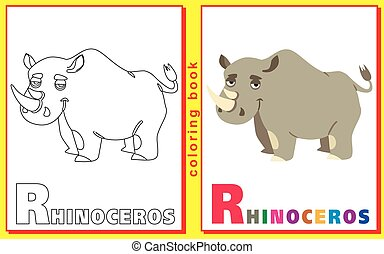 Coloring Book for Kids with letters and words. Litter R. Rhinoceros. vector image