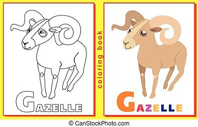 Coloring Book for Kids with letters and words. Litter G. gazelle. vector image.