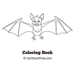 Coloring book forest animal bat cartoon