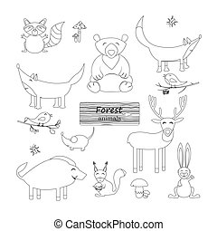 Coloring book Forest animals.