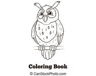 Coloring book forest owl bird cartoon