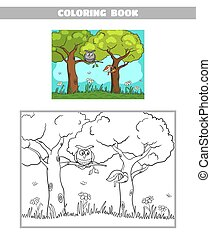 Coloring Book Forest Owl Squirrel