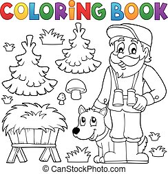Coloring book forester theme 2 - eps10 vector illustration.