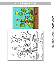 Coloring Book Fox And Crow - Page of coloring book for...