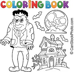 Coloring book Frankenstein theme - eps10 vector...
