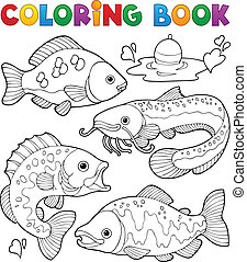 Coloring book freshwater fishes 1 - vector illustration.