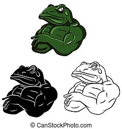 Coloring book Frog Strong caracter