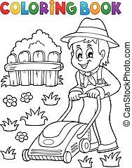 Coloring book gardener with lawn mower - eps10 vector...