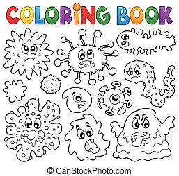 Coloring book germs theme 1 - eps10 vector illustration.