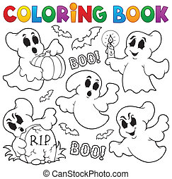 Coloring book ghost theme 1 - eps10 vector illustration.