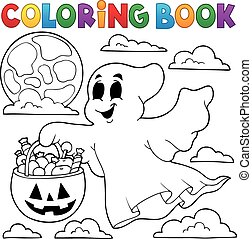Coloring book ghost theme 3