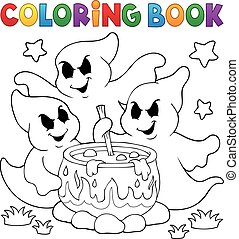Coloring book ghosts stirring potion - eps10 vector...