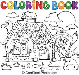 Coloring book gingerbread house theme 2 - eps10 vector...