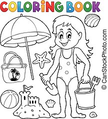 Coloring book girl and beach objects
