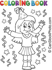 Coloring book girl celebrating theme 1