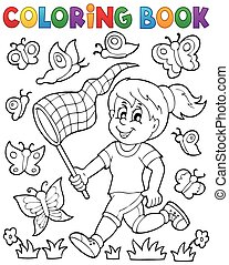Coloring book girl chasing butterflies - eps10 vector ...