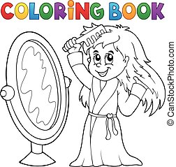 Coloring book girl combing hair theme 1 - eps10 vector...