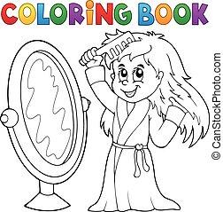 Coloring book girl combing hair theme 1 - eps10 vector...