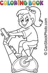 Coloring book girl exercising