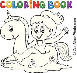 Coloring book girl floating on unicorn 1