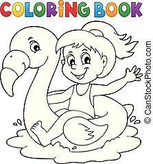 Coloring book girl on flamingo float 1