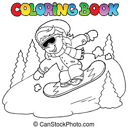 Coloring book girl on snowboard