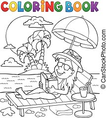 Coloring book girl on sunlounger theme 2 - eps10 vector...