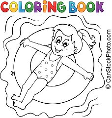 Coloring book girl on swim ring