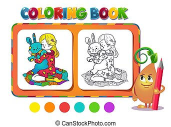 Coloring book girl with a toy