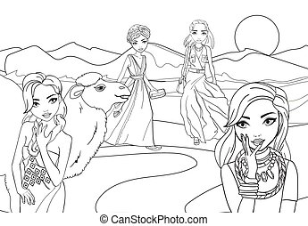 Coloring Book Girls In Desert With Camel