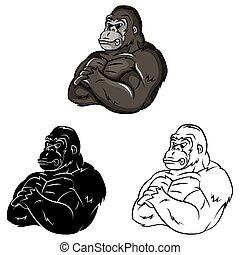 Coloring book Gorilla Strong cartoon character - vector illustration .EPS10