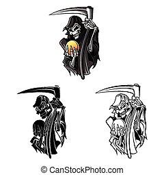Coloring book grim reaper caracter - Coloring book Grim...