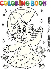 Coloring book groundhog theme image 3