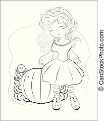 Coloring book Halloween cat girl