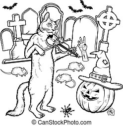 Coloring book Halloween characters. Vector illustration