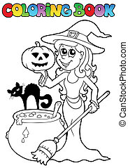 Coloring book Halloween topic 2 - vector illustration.