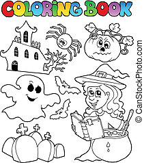 Coloring book Halloween topic 8