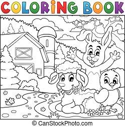 Coloring book happy animals near farm